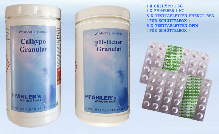 Calhypo – Chlor pH Heber Basis Set / Chlor pH Testtabletten für Schüttelbox