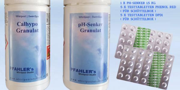 Calhypo – Chlor pH senker  Basis Set / Chlor pH Testtabletten für Schüttelbox