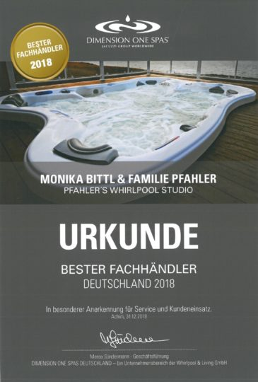 Dimension One Spas Urkunde